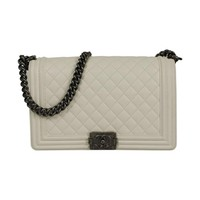 Chanel Quilted Leather Aged Silver Hdw Boy Shoulder Bag