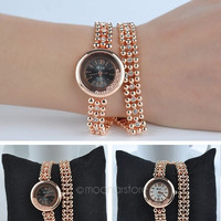 Rolling Beads Style Rhinestones Quartz Wrist Women Watch (Color: White) = 1956315972