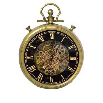 """Roll over image to zoom in Large Decorative Pocket Watch Wall Clock- Traditional Vintage Antique Retro Design- (18"""" x 4"""" x 24"""")"""