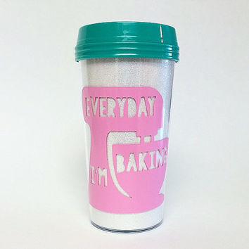 Everyday I'm Baking Glitter Travel Mug