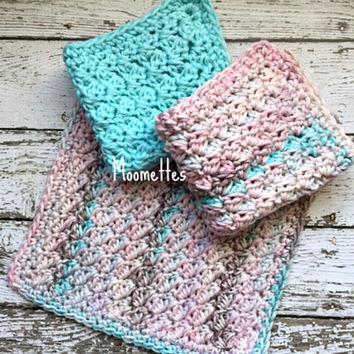 Handmade Dish Cloths Pink Turquoise Blue Pastel Wash Cloths Crochet Kitchen Dishcloths Eco Friendly Cotton Set of 3