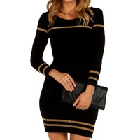 Sale-black Textured Sweater Tunic