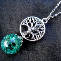 Tree of Life Crackle Green Glass Marble Boho Necklace