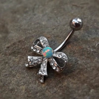 Bow Fire Opal White Belly Ring Cute Fits in Navel Body Jewelry Navel Piercing 14ga Fits in Navel