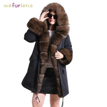 Thicken Genuine Mink Fur Coat With Hooded Women Super Collar Real Fur Waistcoats Winter Fur Jacket Wrinkle-free Adult Clothes
