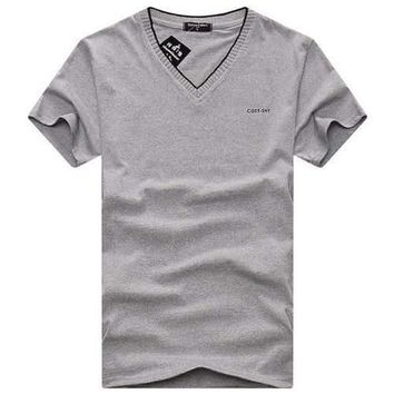 Summer Men's Classic Solid Color Letters Embroidery T-shirt V-neck Slim Casual Sport Tees T-shirts