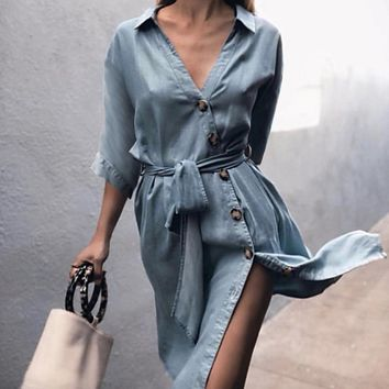 Turn-down collar denim dress women Button long sleeve summer midi dress Streetwear sash blue casual dress robe femme