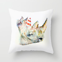 Rhino's Party Throw Pillow by Brandon Keehner | Society6