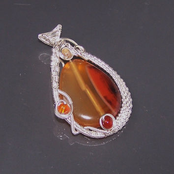 Very Intricate Wire Wrapped Pendant, Red Teardrop Natural Agate Bead , OOAK Pendant, Stone Setting