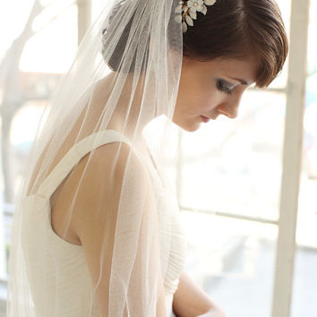 Wedding Veil, Silk Tulle Fingertip Length Veil, Bridal Veil- MADE TO ORDER – Style 1514