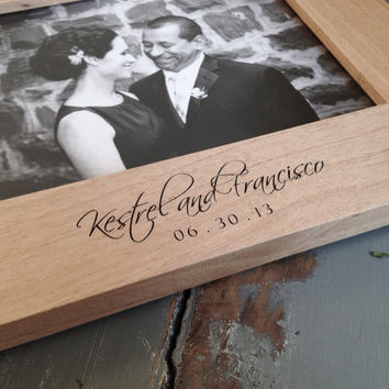 5x7 Personalized Picture Frame. Engraved Wood Frame. Wedding. Anniversary. New Baby. Pet Memorial.