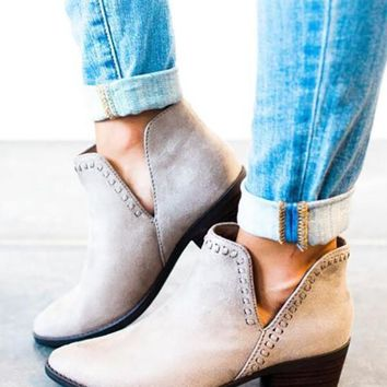 New Grey Round Toe Chunky Fashion Ankle Boots