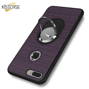 KISSCASE Car Saddle Racks Case For For iPhone 7 6 iPhone 7 Plus 6 6S Plus Ring Holde Cover For Samsung  Galaxy S8 Plus S7 Edge