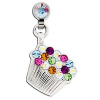 Microdermal Dangling Colorful Crystal Cupcake Charm - Magnetic - Fully Rotational - Sold Individually