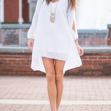 White Slit Sleeve Chiffon Hi-Lo Dress