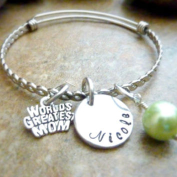Mom bracelet Personalized Mother Bracelet Worlds Greatest Mom Expandable Hand stamped Jewelry