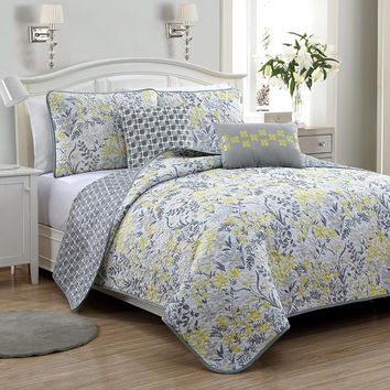 Avondale Manor 5 Piece Katerina Reversible Quilt Set, Queen, Grey