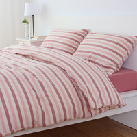 Hot Deal On Sale Bedroom Simple Design Cotton Stripes Rinsed Denim Bedding Set [6451769734]