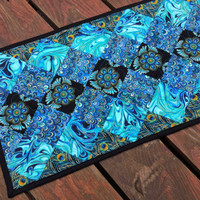 Quilted Table Runner, Blue Black Quilted Table Runner, Asian Quilted Table Runner, Medallion Table Runner, Turquiose Black Table Runner