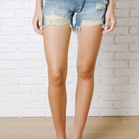 Distressed Cutoff Boyfriend Shorts by Just Black