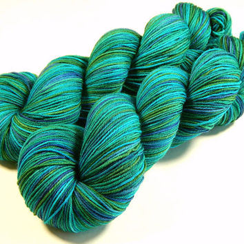 Hand Dyed Yarn - Sock Weight 4 Ply Superwash Merino Wool Yarn - Peacock Multi - Knitting Yarn, Sock Yarn, Wool Yarn, Turquoise Teal Green