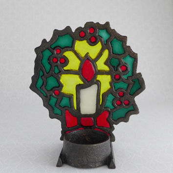 Stained Glass Candle Holder, Christmas Candle, Holly Motif, Green Red Yellow, Cast Iron, Tea Light Candle, Vintage Holiday Home Decor