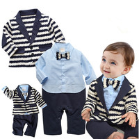gentleman baby boy clothes white coat+ striped rompers