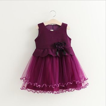 Girls woolen vest dress Autumn Baby Girls Clothes Burgundy/violet royal style princess new year clothing Xmas baby clothes