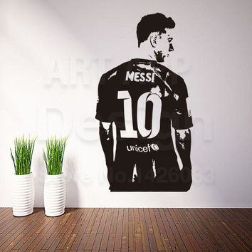 Good quality art new design home decoration football messi vinyl wall sticker removable creative soccer sports decals in rooms
