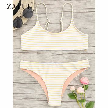 ZAFUL New Bikini Women Swimwear Striped Cami Bralette Bikini Set Low Waisted Spaghetti Straps Bralette Swim Crop Top and Bottoms