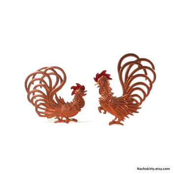 1950s Metal Chicken Rooster & Hen Wall Hangings, Copper Colored Metal Kitchen Decor