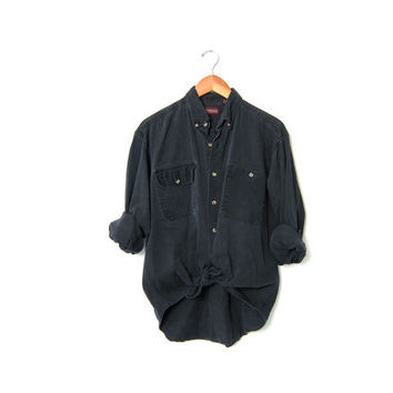 20% OFF SALE Vintage Washed Out Black Denim Shirt. Long Sleeve Jean Shirt. Oversized Button Up Boyfriend Shirt. Soft Cotton Work Shirt. M L
