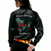 JET BLACK DON'T WORRY SATIN JACKET