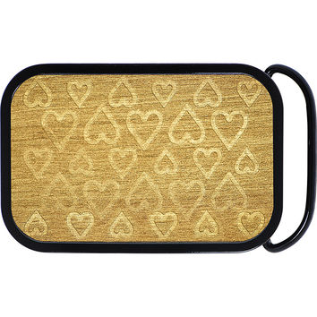 Real Wood  Hearts of Gold Belt Buckle