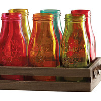 Asst of 7 Country Milk Bottles w/ Tray, Assorted Sets of Everyday Glasses