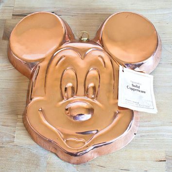 Vintage Mickey Mouse Head Solid Copper Jello Mold, Disney Cake Pan Wall Decor, Original Tag