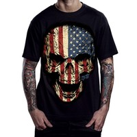 "Men's ""American Skull"" Tee by 2K2BT (Black)"