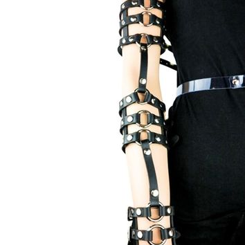 Copy of Gothic Black Leather Triple Stappy & O-Ring Wrist Bracelet Arm Harness