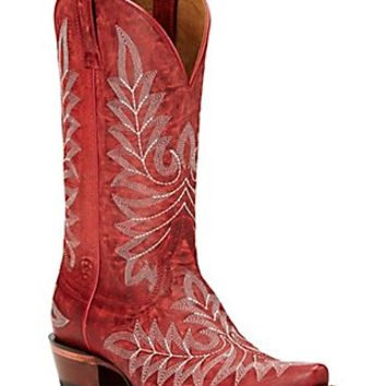Ariat Brooklyn Women's Revel Red Embroidered Snip Toe Western Boots