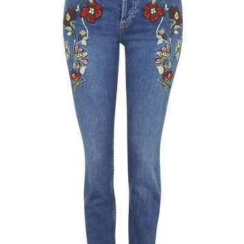 MOTO Embroidered Straight Jeans - Topshop