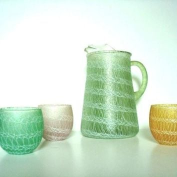 Vintage 50s Color Craft Spaghetti Pitcher w 3 Glasses. Mid Century Modern Glass Ware