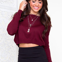 Breezy Days Long Sleeve Crop Sweater - Burgundy