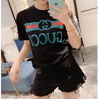 """Gucci"" Woman's Leisure Fashion Letter Printing Round Neck Short Sleeve T-shirt"