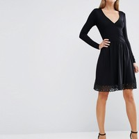 ASOS Wrap Dress with Lace Hem at asos.com
