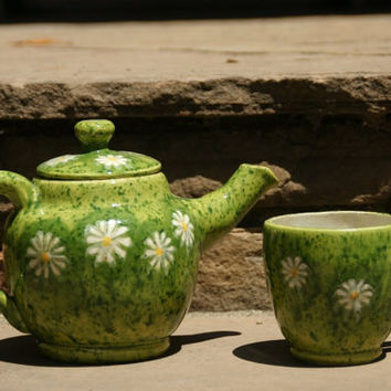 Green Tea Personal Tea Set with Daisies - Hand thrown Stoneware Pottery - ceramic tea pot and one tea cup