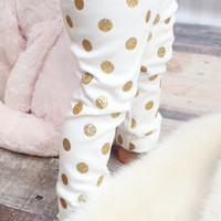 Organic Gold Glitter Polka Dot Leggings