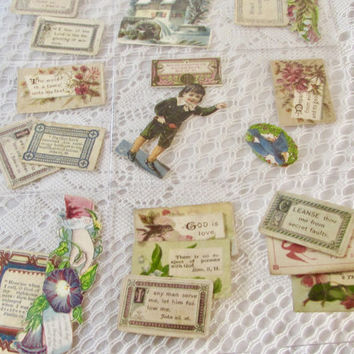 Religious Ephemera, Victorian Ephemera, Bible Verses, Scrapbook Embellishments, Shadow Box Supplies, Antique Scrapbook, Little Paper Verses