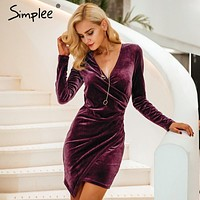 Simplee Velvet soft deep v neck bodycon dress Vintage autumn winter sexy dress women long sleeve Christmas party dresse vestidos