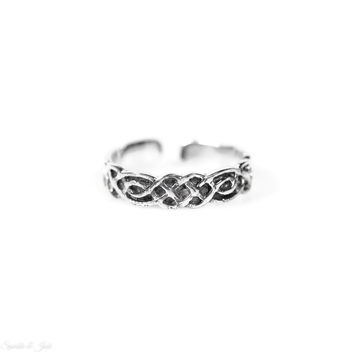Sterling Silver Celtic Knot Weave Toe Ring