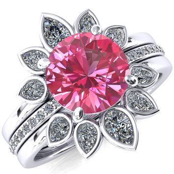 Flora Round Pink Sapphire 1/2 Eternity Accent Diamond Ring